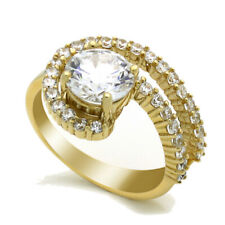 Women 14K Yellow Gold 2 Carat Round CZ Solitaire Wedding Engagement Ring Band