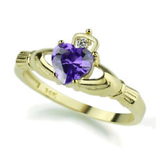 Women 14K Yellow Gold Simulated Amethyst CZ Heart Celtic Claddagh Ring Band