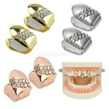 2x 18k Gold Plated Single Cap Teeth Grills Hip Hop Grills Iced-Out Tooth Grill
