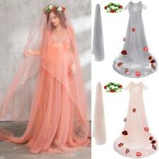 Maternity Womens Organza Gown Ruffles Maxi Photography Dress for Photo Shoot
