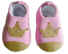NEW Baby Girl Pink Gold Crown Princess First Walker Soft Sole Crib Shoes