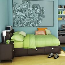 Brown Full Size Storage Bed Frame Headboard Home Living Bedroom Collection Set
