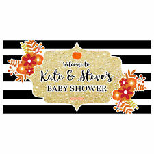 Black and White Striped Fall Pumpkin Baby Shower Banner Personalized Party Ba...