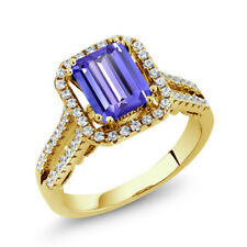 3.08 Ct Emerald Cut Blue Tanzanite 18K Yellow Gold Plated Silver Ring