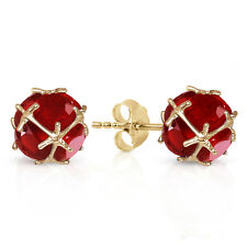 14k Solid Gold Stud Earrings Natural Ruby 9.8 CTW