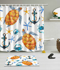 "Bathroom Mat 72/79"" Tortoise Boat Anchor Starfish Crab Polyester Shower Curtain"