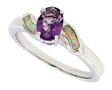 Women Silver Rhodium Plated Opal Inlay Ring Oval Shape Violet Purple CZ 9mm