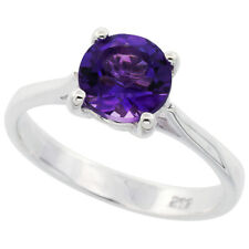 Women 925 Sterling Silver Rhodium Plated, Violet Purple Color Solitaire Ring