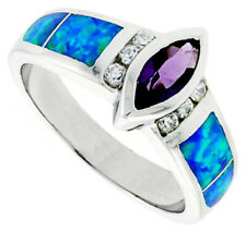 Women Silver Rhodium Plated Opal Inlay Ring Marquis Cut Violet Purple CZ 6mm