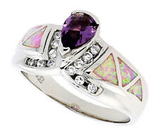 Women Silver Rhodium Plated Opal Inlay Ring Pear Shape Violet Purple 12mm