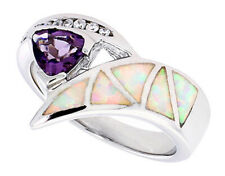 Women Sterling Silver Rhodium Plated Opal Inlay Ring Violet Purple 14mm