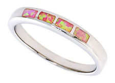 Women 925 Sterling Silver Rhodium Plated, Pink Simulated Opal Ring 4mm Band
