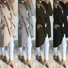 Women Lapel Long Sleeve Solid Color Irregular Hem Office Jacket Coat Cardigan