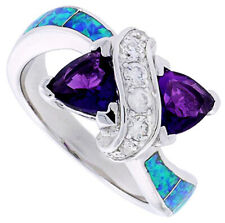 Fine Silver Rhodium Plated Opal Inlay Ring Double Heart Violet Purple CZ 11mm