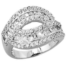Fine Women 925 Sterling Silver Rhodium Plated, Cocktail CZ Ring Band