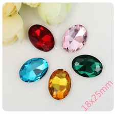18x25mm Oval Point back Rhinestones Crystals Glitter Glass Strass Chatons 50ps