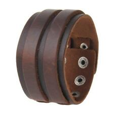Charm Punk Bracelet Mens Brown Black Leather Wide Bracelet Cuff Wristband