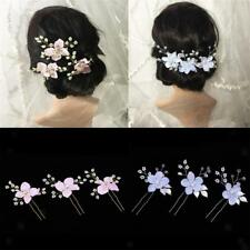 3pcs Wedding Bridal Hair Pins Pearls Rhinestone Flower Fairy Hairpin Bobby Pins