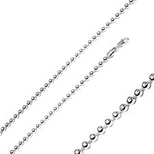 Men Women 4mm Sterling Silver Italian Chain Necklace High Polished Bead Chain