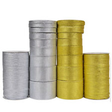 Glitter Effect Sparkle 25 Yards Ribbon 3,6,10-50mm Shimmer Metallic Gold Silver