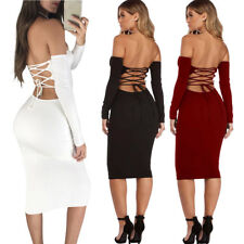 Fashion Women Bandage Bodycon Slim Long Sleeve Evening Party Cocktail Dress