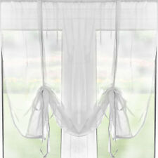 """Slot Top Tie Blind Voile Curtain Panel – 54"""" Drop – White – Ready Made"""