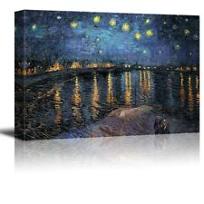 Framed Van Gogh Starry Night painting picture photo Canvas Print Wall Art 12X18
