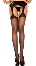 One Size Fits Most Womens Sheer Suspender Pantyhose, Spandex Suspender Pantyhose