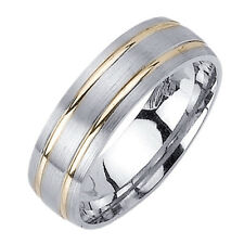 Men Women 6.5mm 14K Two Tone Gold Comfort Fit Wedding Ring Band / Free Gift Box