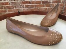 DKNY Deena Taupe Brown Leather Studded Ballet Flats NEW