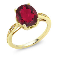 14K Yellow Gold 2.74 Ct Oval Red Mystic Quartz and Diamond Ring