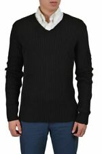 Dolce & Gabbana Wool Black Distressed  V-Neck Knitted Sweater Sz M L XL 2XL