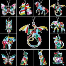 Fashion Womens Colorful Animal Butterfly Cat Dog Pendant Necklace Jewellery Gift