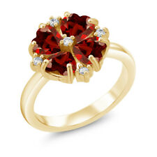 2.28 Ct Heart Shape Red Garnet 18K Yellow Gold Plated Silver Ring