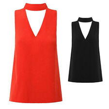 Blouse Cut Out Hanging Neck Womens Plunge Shirt Sleeveless V Neck High Neck New