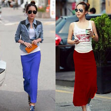 Stylish Lady Slim Package-hip Casual Elastic Waist New Long Skirt Straight