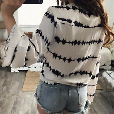 Blouse Loose Long Sleeve Bandage Blouse  Stripe Printed Tops  Casual Women