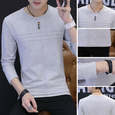Solid color T-Shirt Men's T Shirt Casual Round neck Cotton T Shirt Long Sleeve
