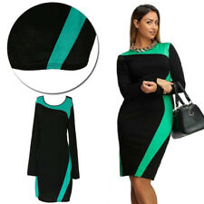 Trendy Two Colors Large Size Dress Long Sleeve Dress Round Neck Women's