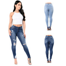 Womens Jeans  High Waisted Stretch Ripped Knee Skinny Fit Denim Pants