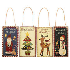 Merry Christmas Rectangle Wooden Plaque Sign Home Party Wall Decor Hanging Board
