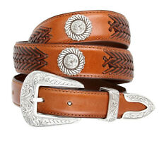 BL032 Floral Tan Horse Head Western Conchos Belt Genuine Leather Tapered 1-1/4""
