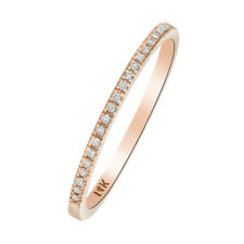 Women 1.2mm 14K Rose Gold Wedding Band Round 0.08 ct Diamond Half Eternity Ring