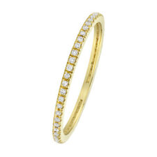 Women 1.2mm 14K Gold Wedding Band Round 0.16ct Diamond Stackable Eternity Ring