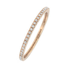 Women 1.2mm 14K Rose Gold Wedding Band 0.16ct Diamond Stackable Eternity Ring