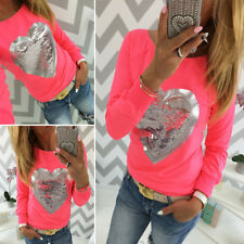Casual Round neck Fashion Heart pattern New Long Sleeve T-Shirt Womens