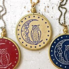 Vintage Owl Crescent Moon Necklace - Antique Clay Poker Chip Pendant stars Deco