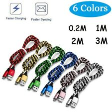 0.2/ 1/ 2/ 3M Micro USB Nylon Braided Fast Charging Data Sync Charger Cable Cord