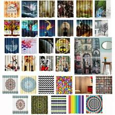 32 Pattern Fabric Waterproof Bathroom Shower Curtain Divider Panel with 12 Hooks