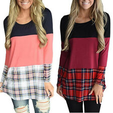 Plaid T Shirt Long Sleeve Tops Back Lace Patchwork Womens T Shirt Fashion